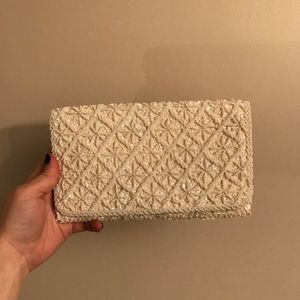 Vintage White Pearl Beaded Evening Bag/ Clutch